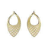 Small 18k Yellow Gold & Diamond Spiral Mesh Earrings