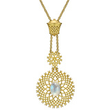 "18k Gold & Moonstone ""Spiral Mesh"" Pendant Necklace"