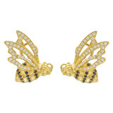 18k Gold &amp; Diamond Honey Bee Earrings