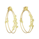 18k Gold & Diamond Hydrangea Double Wire Hoop Earrings