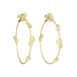 18k Gold & Diamond Hydrangea Wire Hoop Earrings