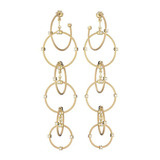"Long 18k Yellow Gold ""Unity"" Rain Chain Earrings"