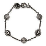 Blackened 18k White Gold Meditation Bell Bracelet