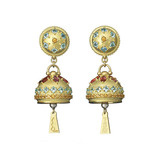 Large Meditation Bell Gem-Set Drop Earrings