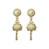 Small Meditation Bell Diamond Drop Earrings