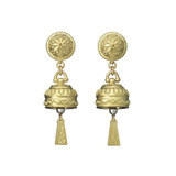 Small Meditation Bell 18k Gold Drop Earrings