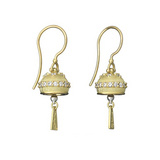 Small Meditation Bell 18k Gold & Diamond Drop Earrings
