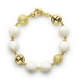 Mother-of-Pearl Prayer Bead & Meditation Bell Bracelet