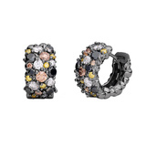 "Large Multicolored Diamond ""Confetti"" Snap Hoop Earrings"