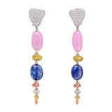 """Pebble"" Multicolored Diamond & Sapphire Drop Earrings"