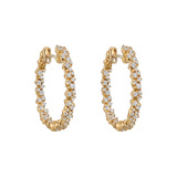 "Small 20k Pink Gold & Diamond ""Confetti"" Hoop Earrings"