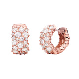 "​Large 18k Pink Gold & Diamond ​""Confetti"" Snap Hoops"
