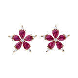"​Ruby & Diamond ""Stellanise"" Cluster Earrings"