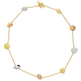 18k Tricolored Gold & Diamond Shell Chain Necklace
