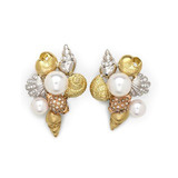&quot;Shell&quot; Gem-Set Cluster Earclips