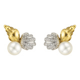 "18k Gold, Pearl & Diamond ""Shell"" Stud Earrings"
