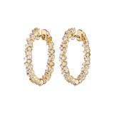 "Small 18k Yellow Gold & Diamond ""Confetti"" Hoop Earrings"