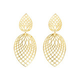 ​Small 18k Yellow Gold Spiral Mesh Dangle Earrings