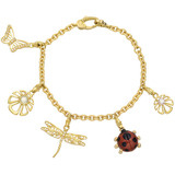 18k Gold &amp; Gem-Set Spring Charm Bracelet