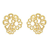 Large &quot;Flower Power&quot; 18k Gold Cluster Earclips