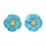 Turquoise &amp; Pav Diamond Flower Earclips