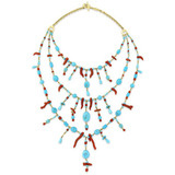 Turquoise & Red Coral Bib Necklace
