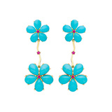 ​Turquoise & Ruby Flower Drop Earrings