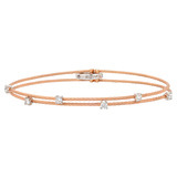 "Thin ""Wire"" 18k Rose Gold & Diamond Double Bracelet"