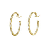Medium 18k Yellow Gold & Diamond Hoop Earrings