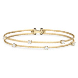 "Large 18k Yellow Gold & Diamond ""Unity"" Double Bracelet"