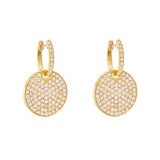 Pavé Diamond Circle Drop Earrings