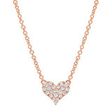 ​Small 18k Pink Gold & Pavé Diamond Heart Pendant