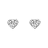 Small 18k White Gold & Pavé Diamond Heart-Shaped Stud Earrings