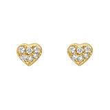 Small 18k Gold & Pavé Diamond Heart-Shaped Stud Earrings