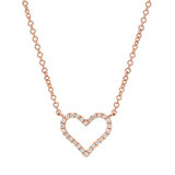 ​Small 18k Pink Gold & Diamond Heart Pendant