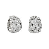 Pavé Diamond Woven Huggie Earrings