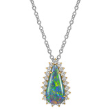 Pear-Shaped Opal & Diamond Pendant Necklace