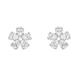 Pear-Shaped Diamond Flower Cluster Earrings (~2 ct tw)