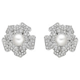 South Sea Pearl & Diamond Flower Earclips