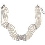 7-Strand Pearl & Diamond Panel Choker Necklace