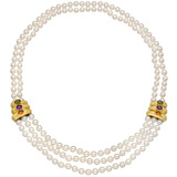 Multistrand Pearl Necklace with 18k Gold & Gem-Set Panels