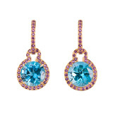 Blue Topaz Drop Earrings with Amethyst