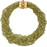 Multi-Strand Green Garnet Bead Necklace