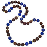 Lapis & Wood Bead Long Necklace