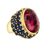 "Rubellite & Sapphire ""Cowboy"" Ring"