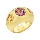 Pink Tourmaline &amp; Citrine Domed Gypsy Ring