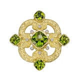 18k Gold, Peridot & Diamond Brooch