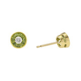 Peridot & Diamond Stud Earrings