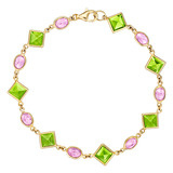 &quot;Florentine&quot; Peridot &amp; Pink Sapphire Link Bracelet