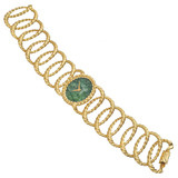 18k Gold Oval Link Bracelet Watch with Jade Dial